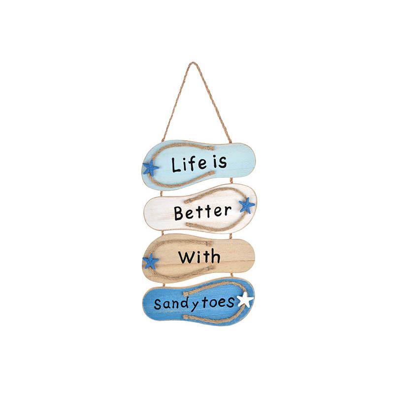 Nautical Wooden Flip-Flops Wall Art Decoration