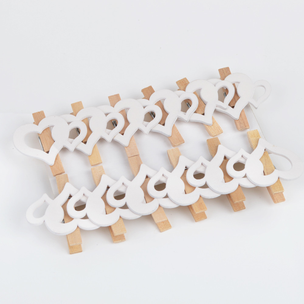 Wooden Heart Photo Pegs Craft Clips For Wedding Party Decor