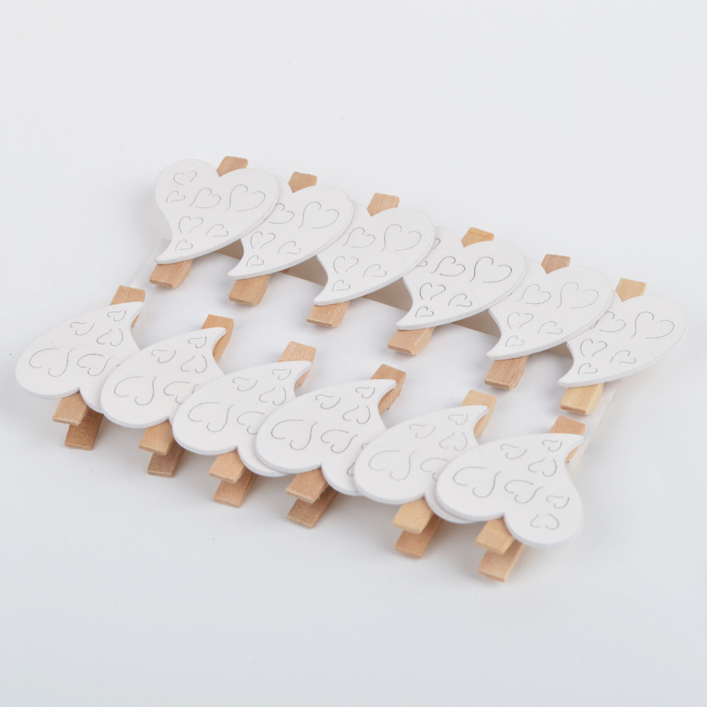 Mini Wood Heart Pegs For Wedding Party Favor