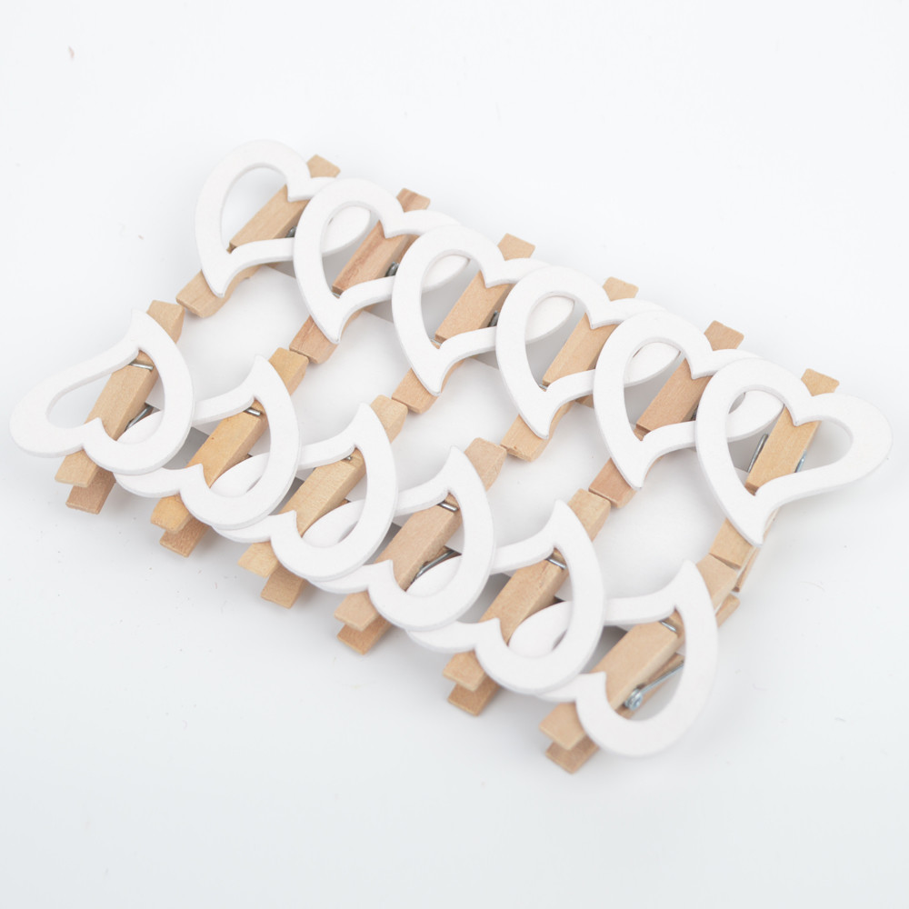 Plywood Hollow White Heart Photo Paper Pegs For Wedding Decor