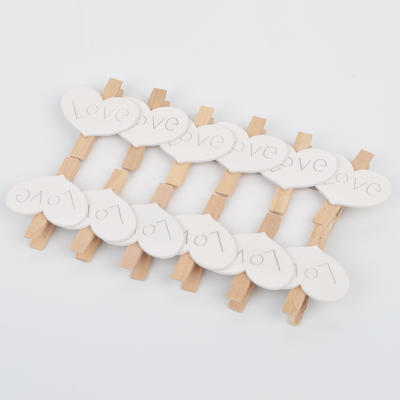 White Mini Wooden Love Heart Clothspins For Wedding Decoration
