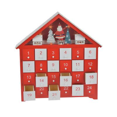 Wooden Led Light Santa Tree Advent Calendar Countdown Decorations