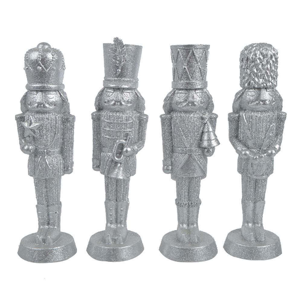 Silver Polyresin King Nutcracker Christmas Figurines