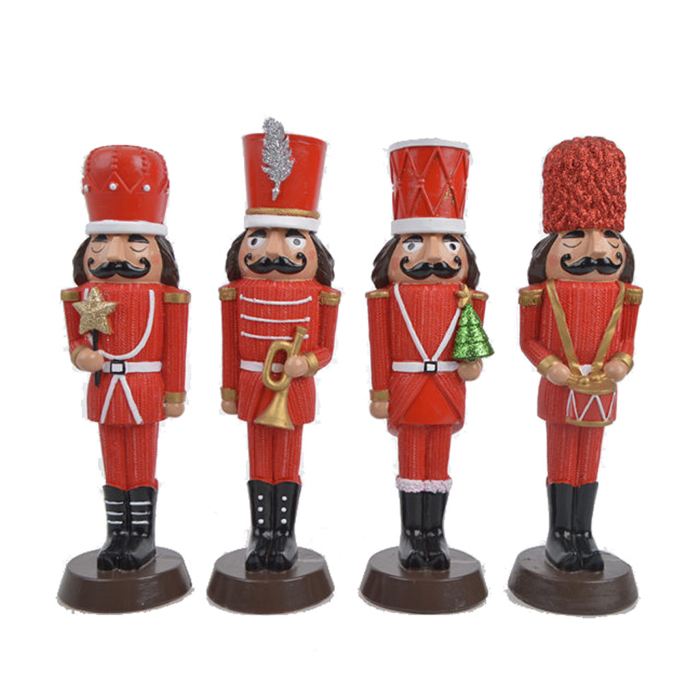 Christmas Collection Poly Resin Nutcracker Soldier Statue ornament Indoor king Nutcracker Figurines Puppet Doll Gift Home Tabletop Decor