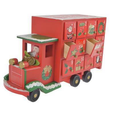 Wooden Christmas Red Truck  Santa Lorry Advent Calendar