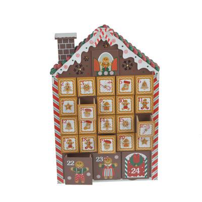 Gingerbread Wooden Christmas Advent Calendar Decor