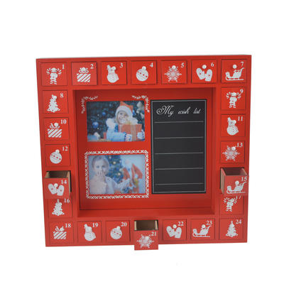 Wooden Red XMAS Photo and Blackboard  Advent Calendar