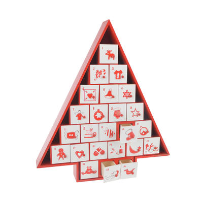 Red Wooden Christmas Tree Advent Calendar Ornament