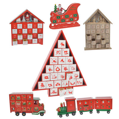 Wooden Christmas Advent Calendar Train With Two Carriages
