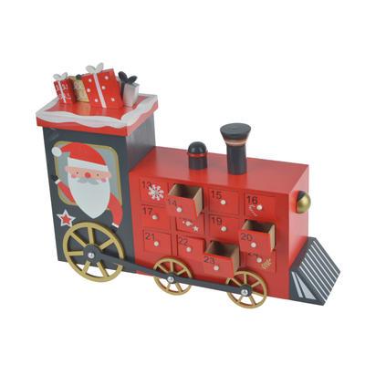 Wooden Christmas Santa Train Advent Calendar Decoration