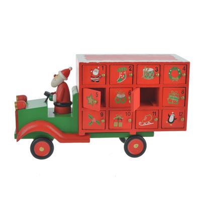 Wooden Santa Lorry Christmas Advent Calendar