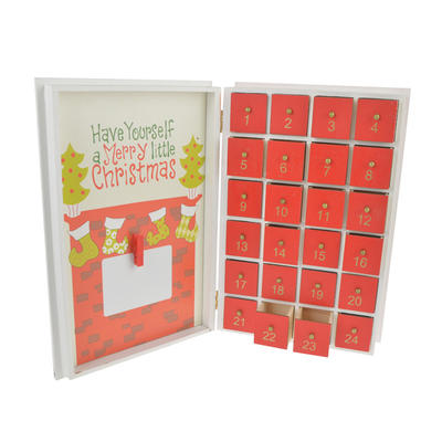 Wooden Advent Calendar  Christmas Book with 24 drawers