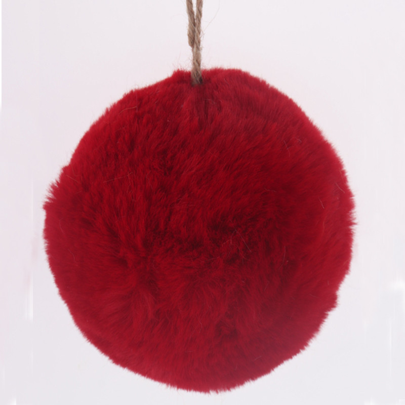 Fuzzy Faux Fur Red Christmas Ball Ornament