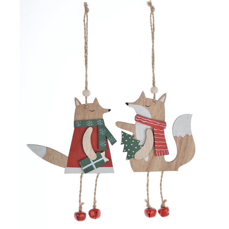 Wooden  Wearing Scarf Fox Hanging Christmas Ornament