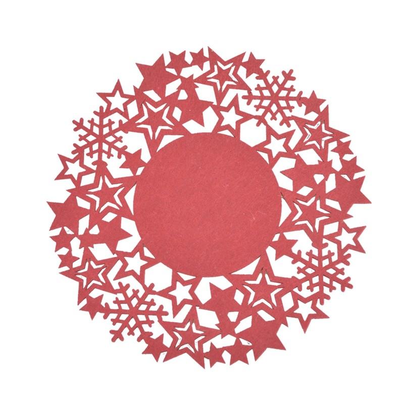 Felt Red Snowflake Heat Resistant Home Drink Coasters