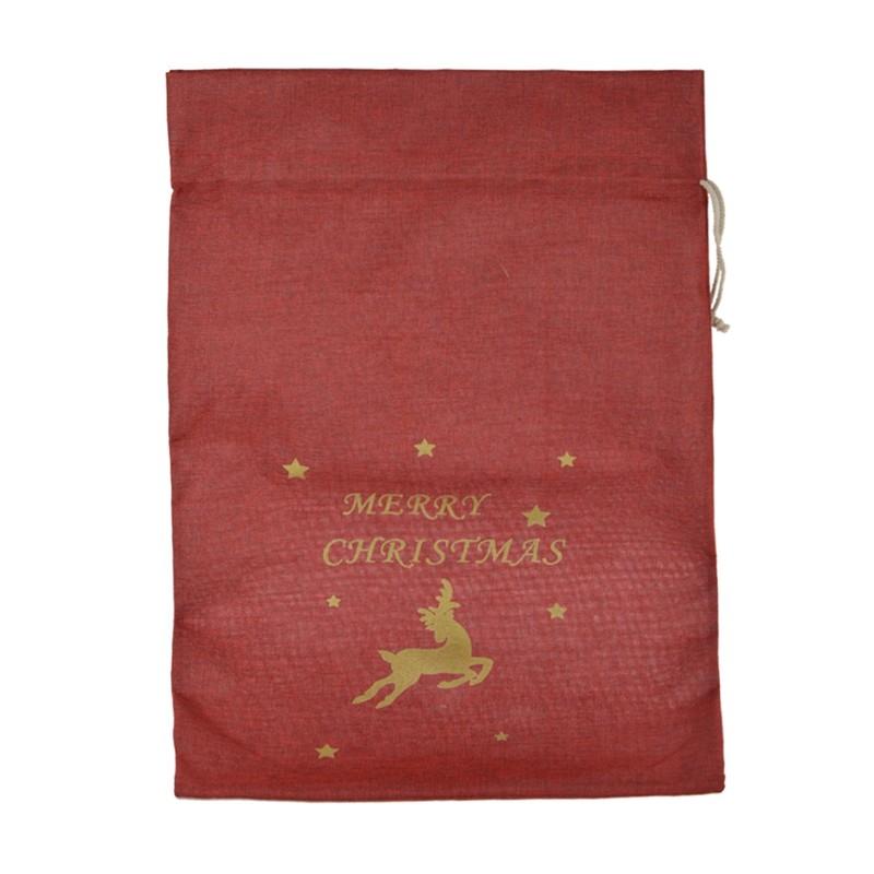 Drawstring Christmas Gift Bags Deer Jute Bags