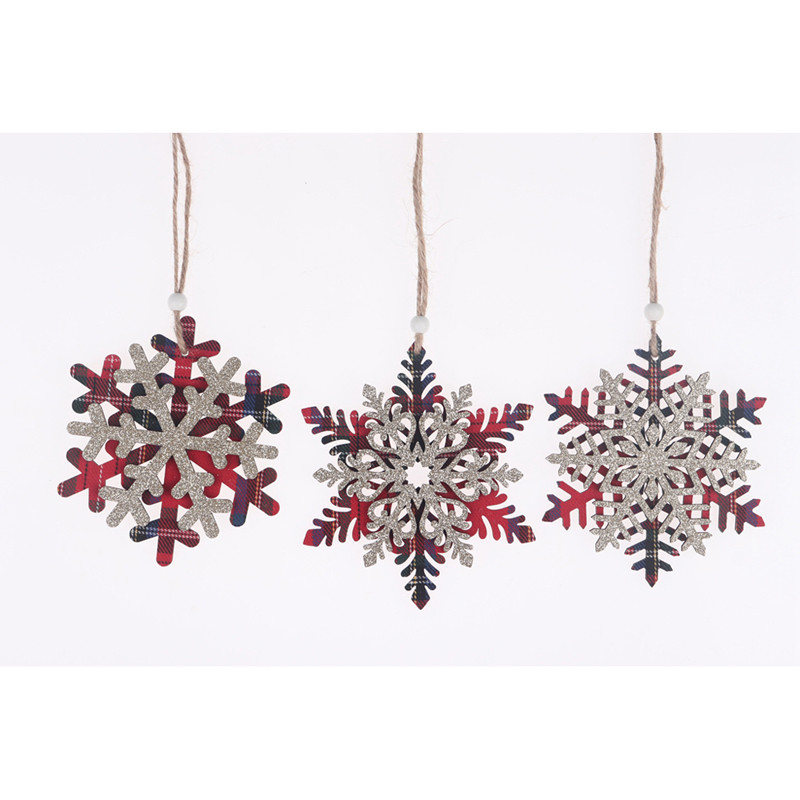 Wooden Red Lattice Gold Dust Snowflake Christmas Tree Decoration