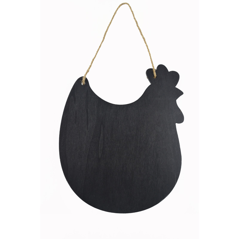Hen Shape Chalkboard With Rustic Rope For Hanging