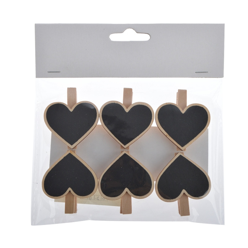 Heart Shaped Wooden Blackboard Photo Album Clip