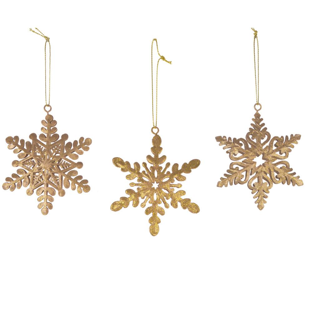 Christmas tree Gold Glitter metal Snowflake ornament