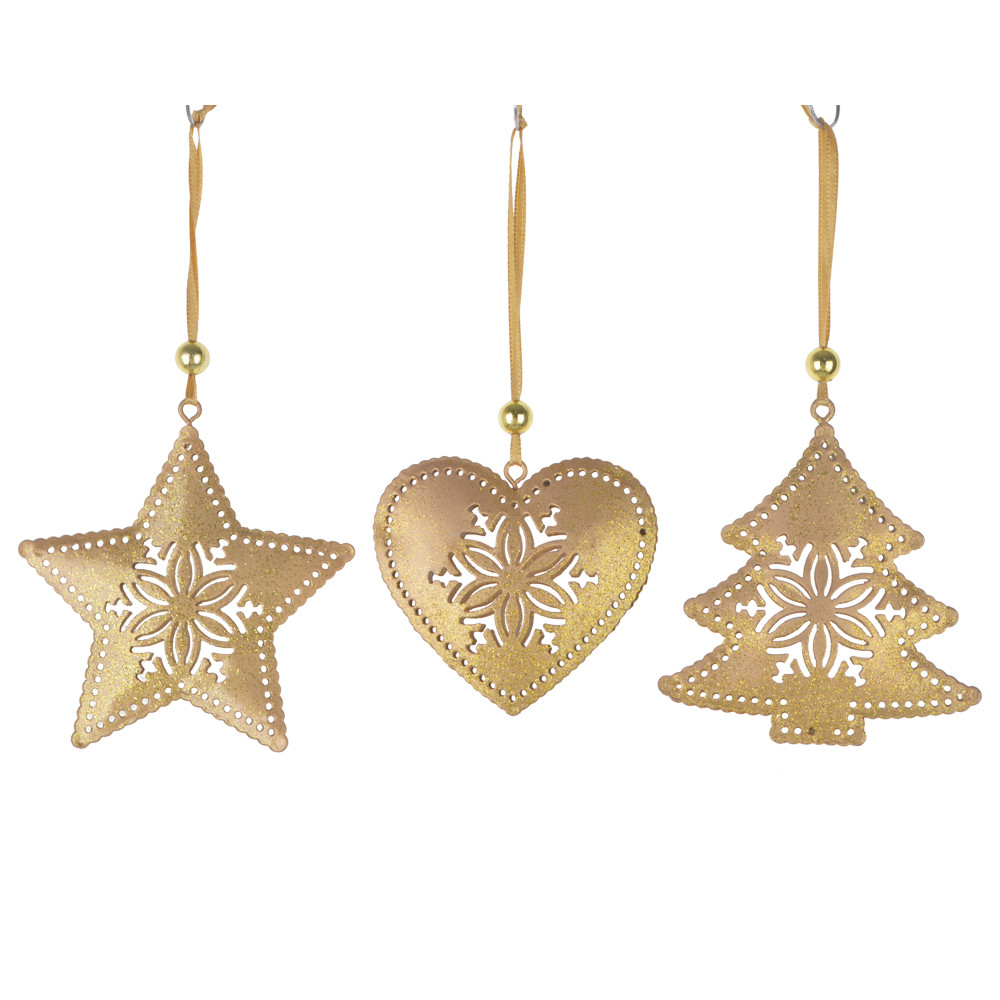 DIY 3D Metal Gold Glitter Star Ornaments