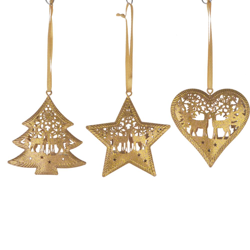 Hanging Vintage Look Reindeer Heart Star  Ornament