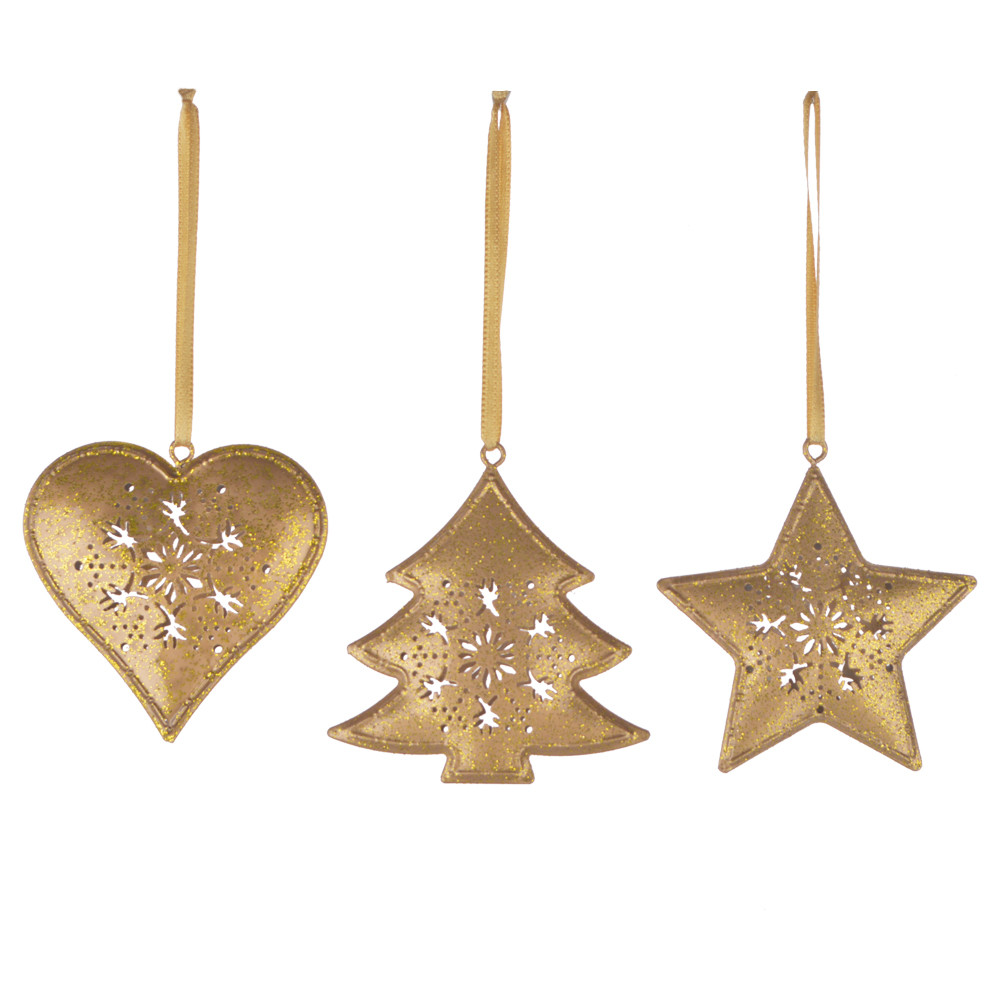 Gold Metal Christmas Holiday Ornament