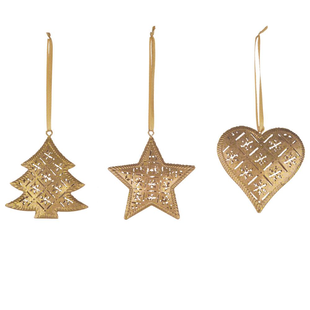 Gold Glitter Cutout Metal Ornament star tree