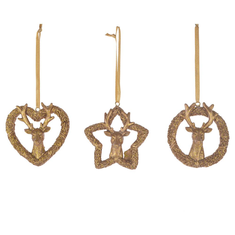 Christmas Gold Resin star ball heart Decoration