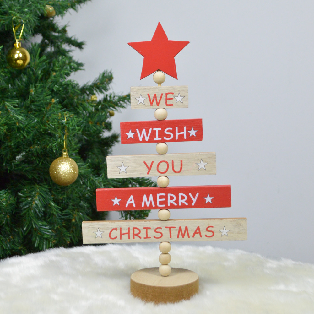 Tree Shaped Blessing Words Mini Wooden Letter  Ornament