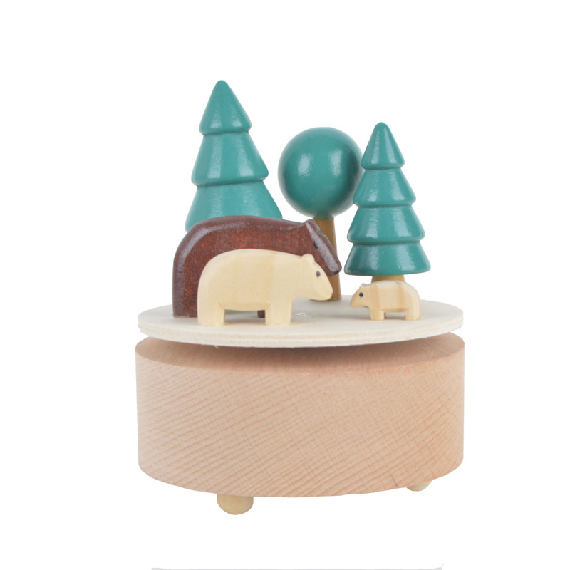 Hand-made wooden rotating bear music box Home Decoration Accessories
