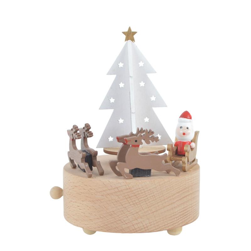 Wooden Crafts rotating Santa elk and Christmas tree music box