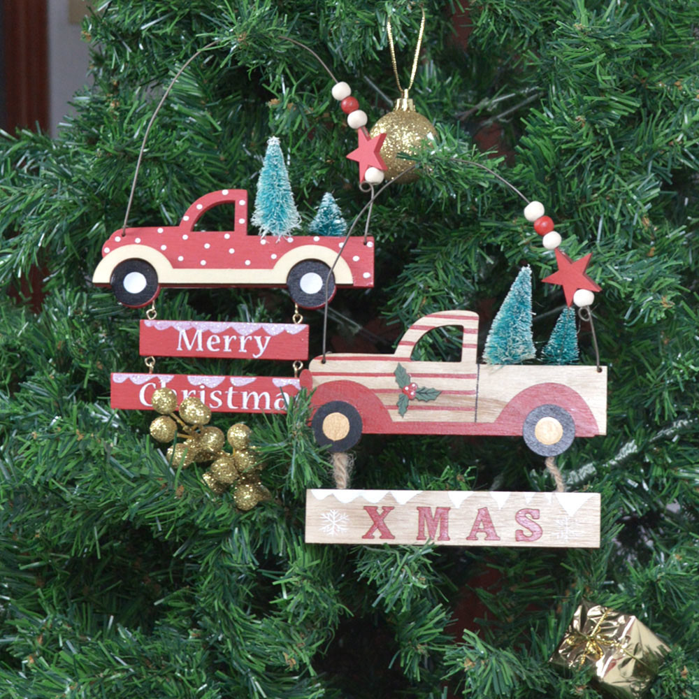 Merry Christmas board wooden truck decoration home wall hanging tree ornament