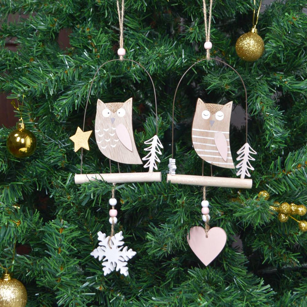 Handicraft wall hanging decorative figurine wooden owl hanging tree ornament