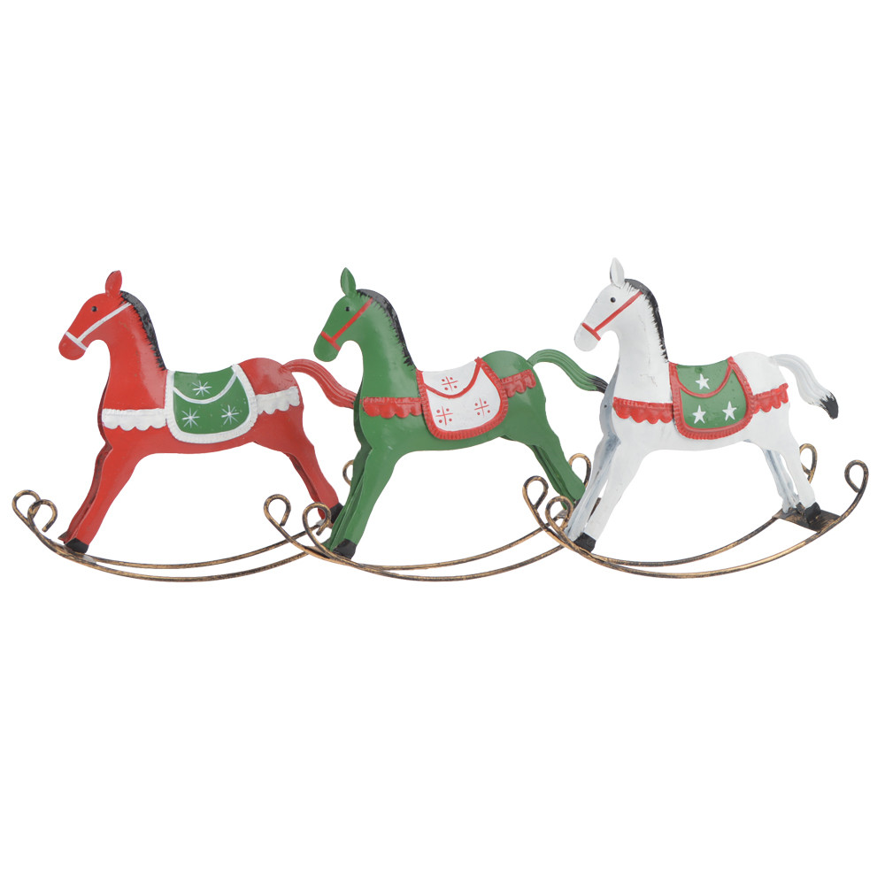 Painted iron rocking horse decoration