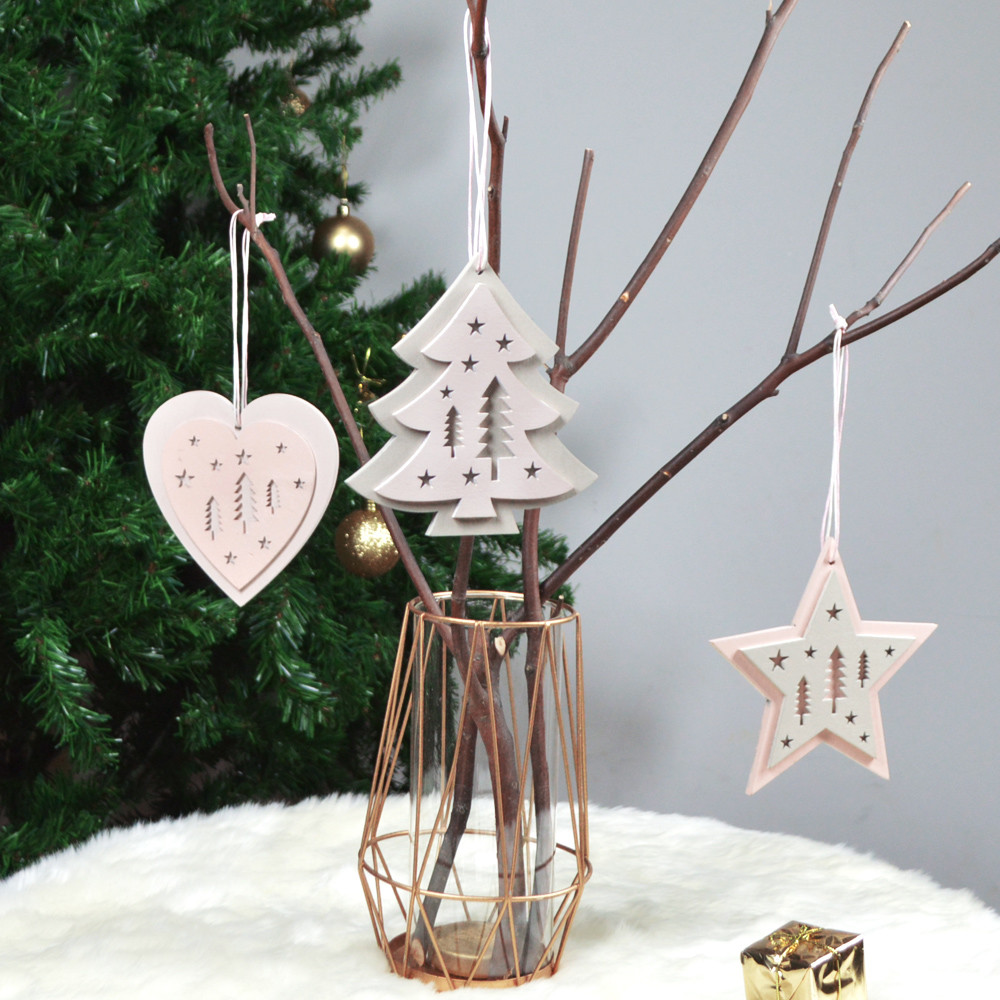 Wooden star/tree/heart hanging decoration 2 layers hollow out Christmas Tree Ornament