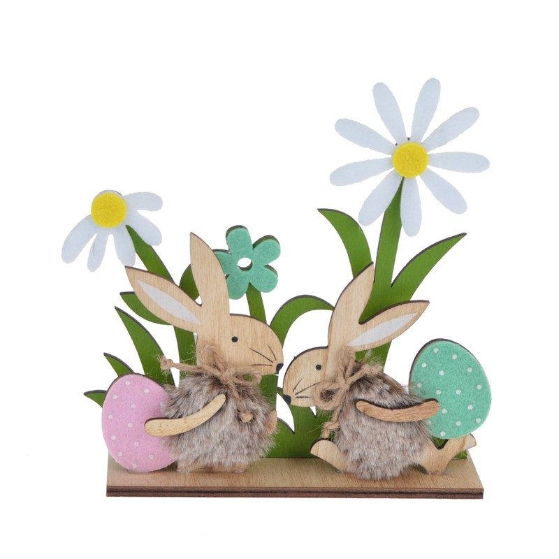 Hot sale easter home decoration wooden rabbit ornaments