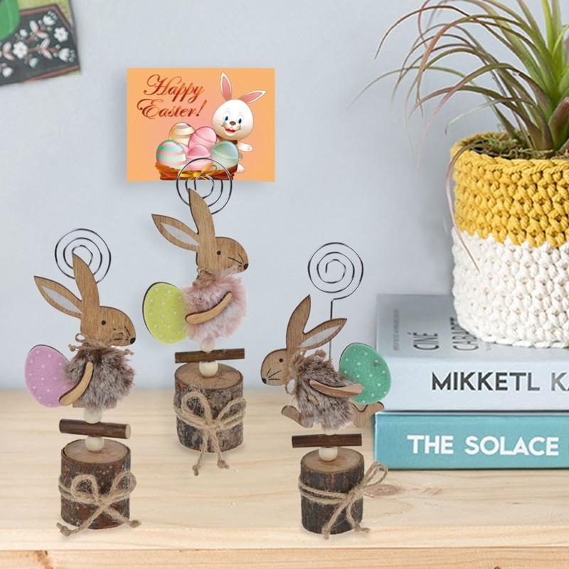 Solid wood easter rabbit design note holder decorations