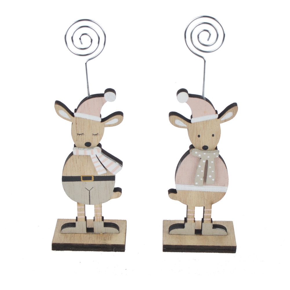 Christmas Place Card Holder Deer Shape Printed Wooden Table Number Menu Paper Meno Note Clips Holder for Holiday