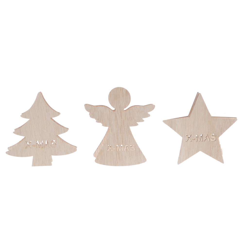 laser cut natural wooden star angel Christmas tree shaped clip photo label pegs