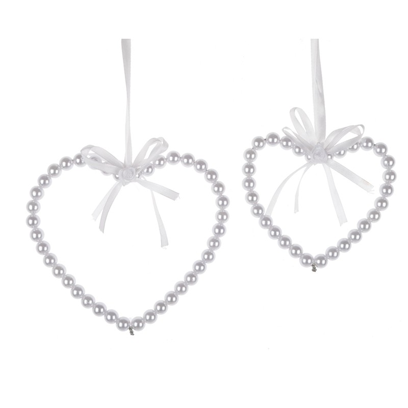 Heart Pearl Ornament White Valentine Handmade Hanging Decor Gift