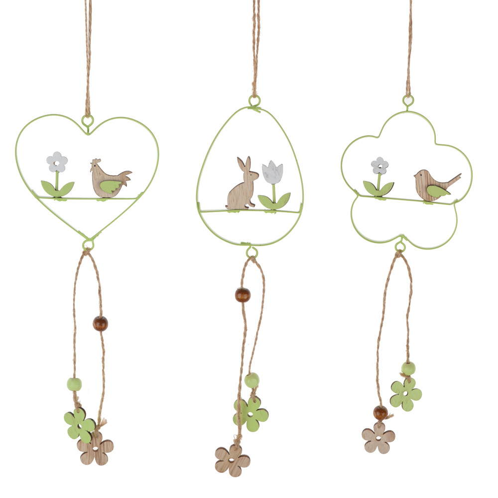 Metal heart flower egg hanging for easter decoration