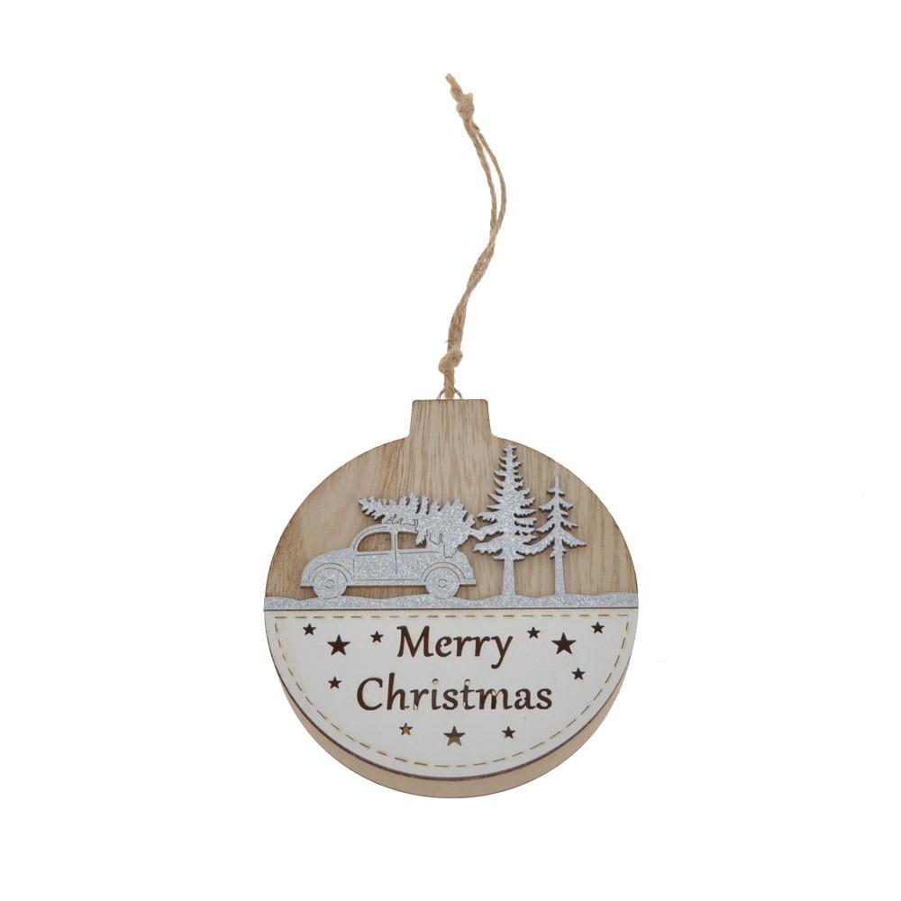 natural wooden ball Christmas ornament wooden hanging Xmas decor