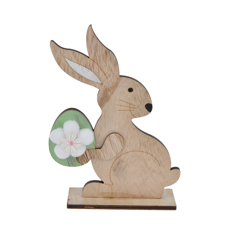 Hot sales easter rabbit turn round wooden bunny take the eggs