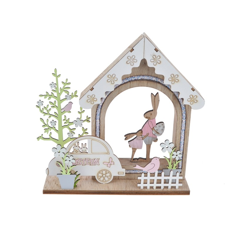New design wooden rabbit with a small baby spring house decoration