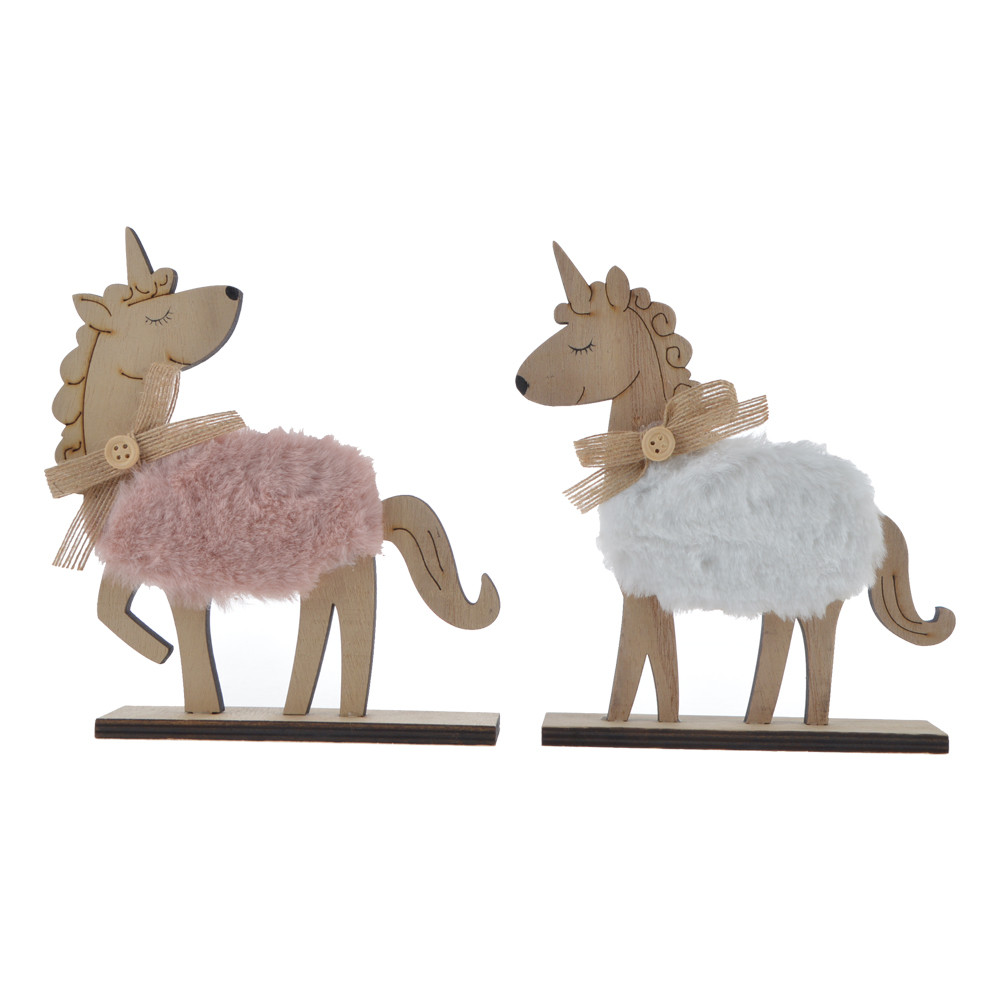 desk christmas gift wooden standing unicorn with fur nursery decor