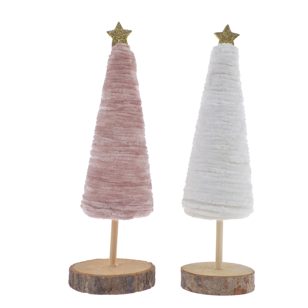 Soft Velvet standing tree shape with wood base adding top star christmas decoration holiday gifts
