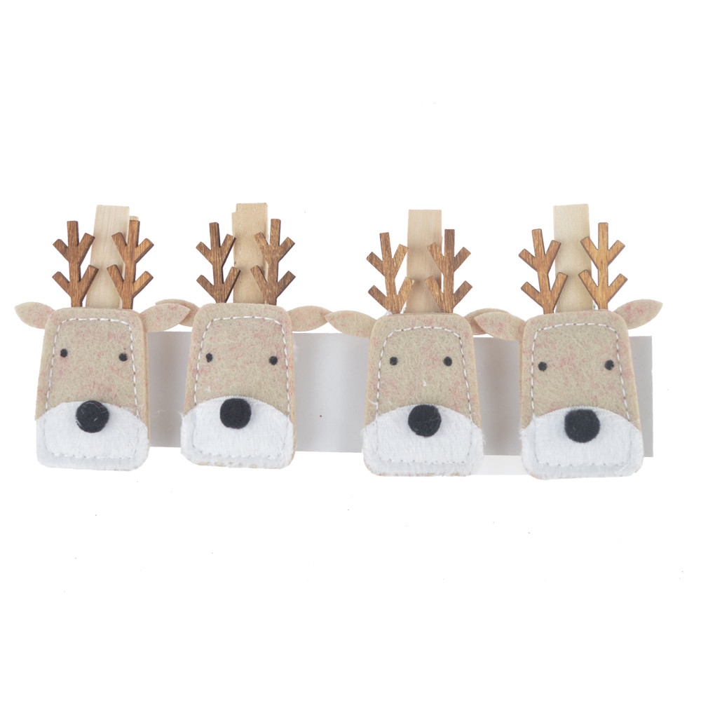 Miniature felt cute deer wooden photo clips holder indoors decoration