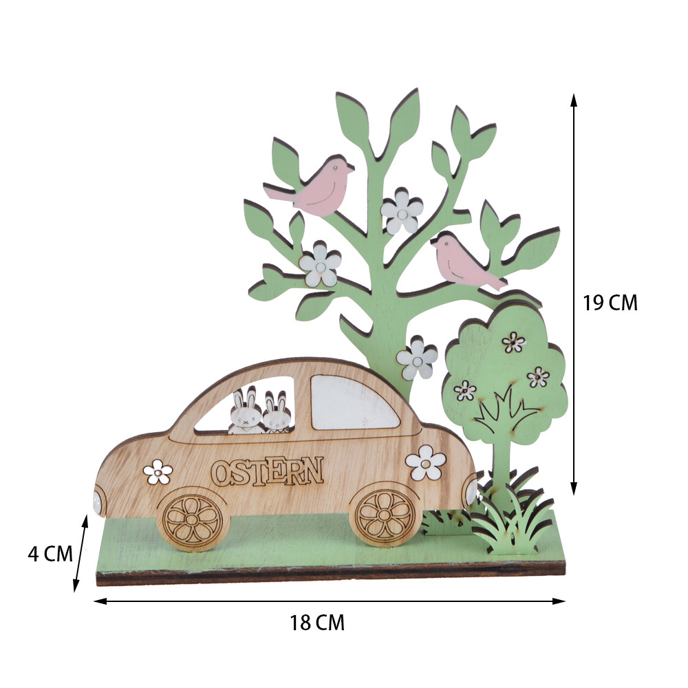 spring wooden cars bunny and tree Easter table decorations