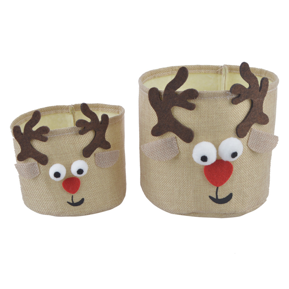Christmas Storage Bag Candy Gift Jute Fabric Box With Lovely Deer Design